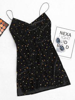 Stars Side Slit Cowl Front Velvet Dress - Black S