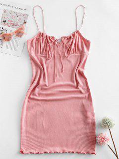 ZAFUL Ribbed Lettuce Tie Cami Mini Dress - Pink S