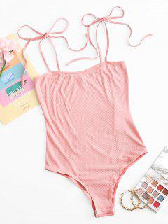 ZAFUL Snap Button Ribbed Tie Shoulder Bodysuit - Flamingo Pink M
