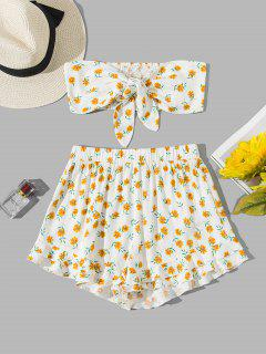 ZAFUL Shirred Tie Front Ditsy Print Bandeau Co Ord Set - White S