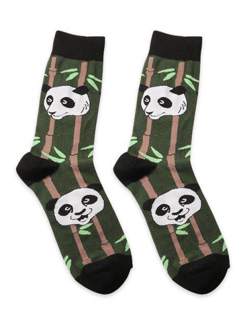 Принт панды и бамбука Короткие Носки - Чёрный  Mobile