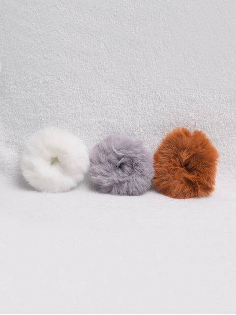3шт Искусственный мех Резинка для волос - Многоцветный-A  Mobile