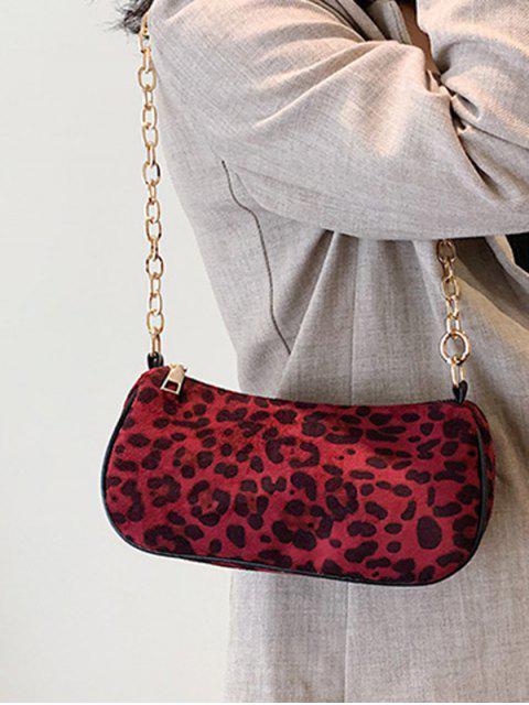 Цепь Сумка через плечо С леопардовым принтом - Красное вино  Mobile