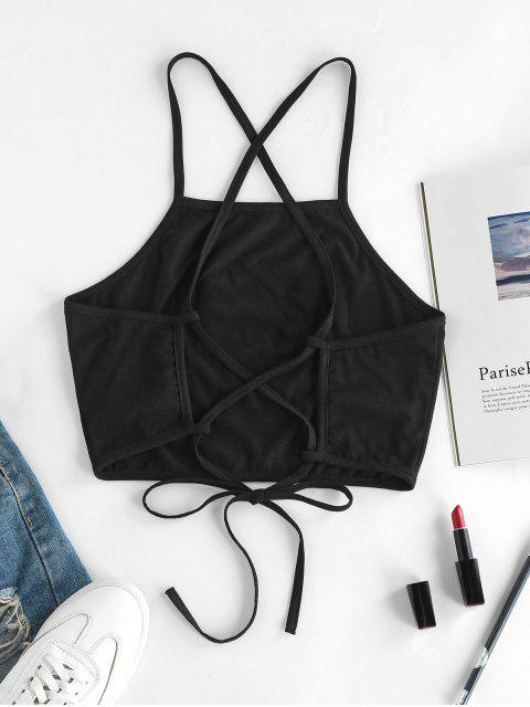 fancy ZAFUL Hand Graphic Lace-up Cami Top - BLACK M Mobile