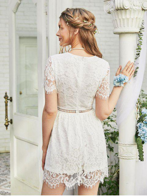 sale ZAFUL Floral Lace Openwork A Line Dress - WHITE XL Mobile