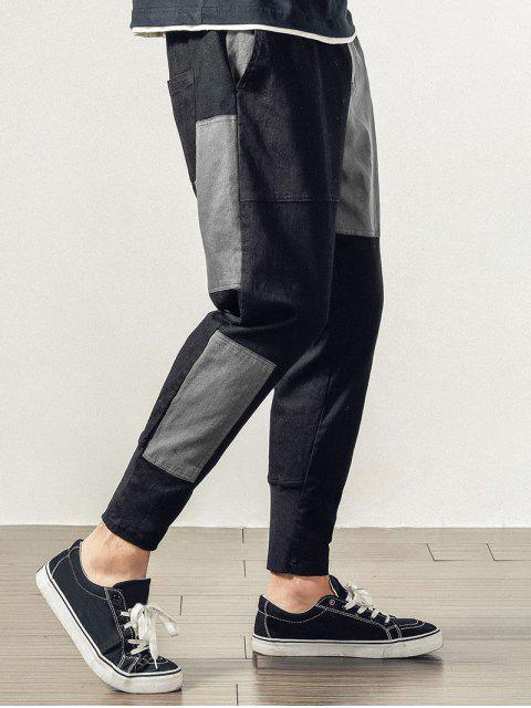 outfit Colorblock Patchwork Jogger Pants - BLACK XS Mobile