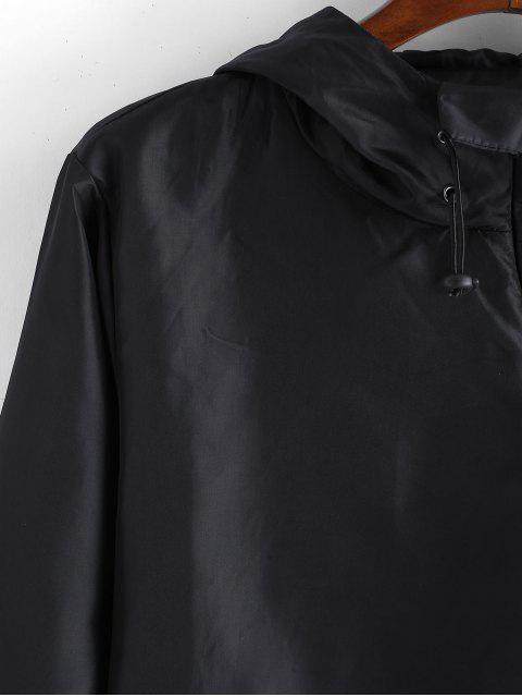純色拉鍊下擺拼接連帽外套 - 黑色 XL Mobile