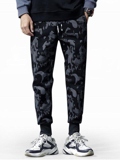 fancy Letter Camouflage Print Drawstring Jogger Pants - MULTI-A M Mobile