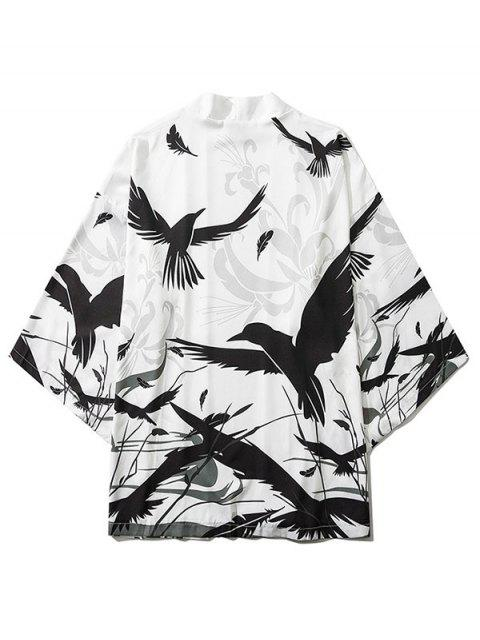 new Bird Plant Feather Graphic Print Open Front Kimono Cardigan - WHITE XL Mobile