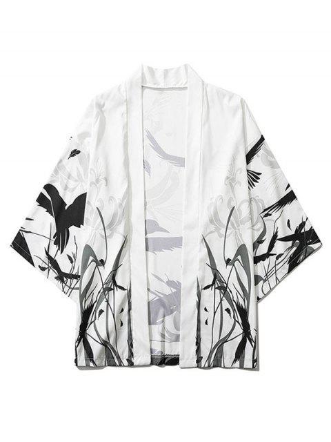 outfit Bird Plant Feather Graphic Print Open Front Kimono Cardigan - WHITE M Mobile