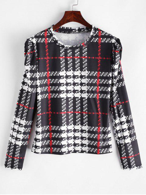 buy ZAFUL Plaid Puff Sleeve T-shirt - MULTI-A S Mobile