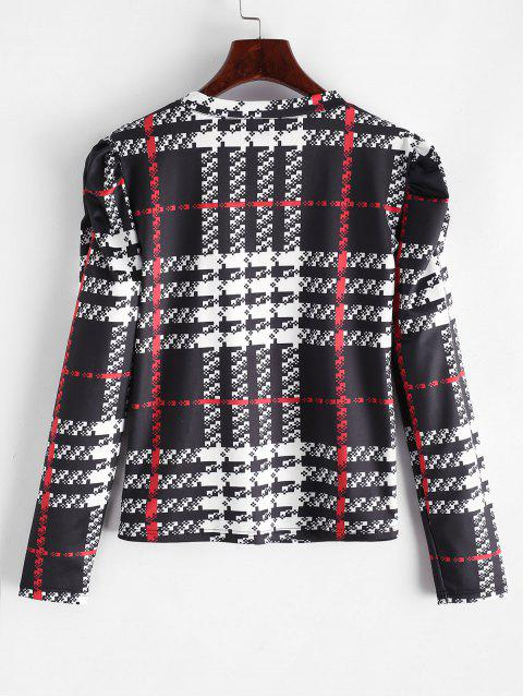 outfits ZAFUL Plaid Puff Sleeve T-shirt - MULTI-A XL Mobile