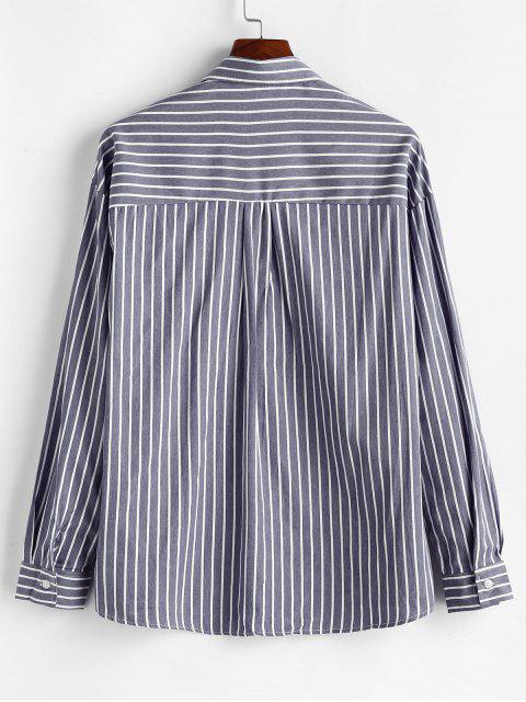 Camisa Rayas Solapa Bolsillo en El Pecho Botón - Gris XL Mobile