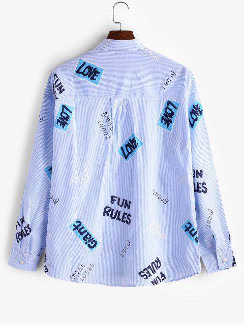 Camisa Casual con Botones de Rayas y Letras Gráficas - Azul XL Mobile