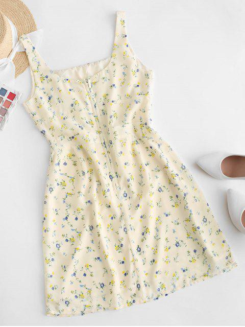 hot Tiny Floral Sleeveless A Line Dress - YELLOW L Mobile