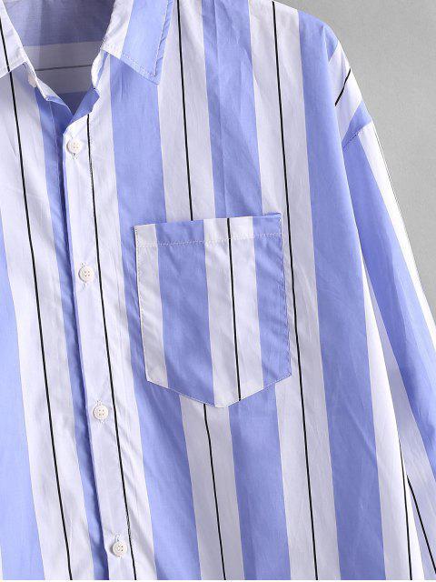 Camisa a Rayas con Botón y Bolsillo en Pecho - Azul L Mobile