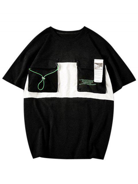 信件模式口袋休閒T卹 - 黑色 3XL Mobile