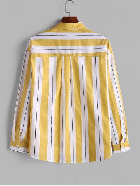 Camisa a Rayas con Botón y Bolsillo en Pecho - Amarillo XL Mobile