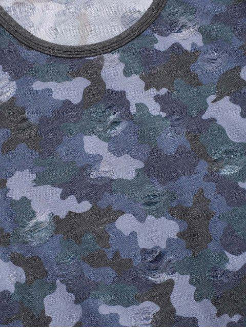 best Camouflage Print Ripped Short Sleeve T-shirt - BLUE XL Mobile