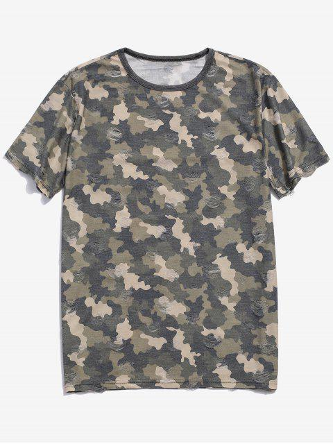 fancy Camouflage Print Ripped Short Sleeve T-shirt - GREEN M Mobile