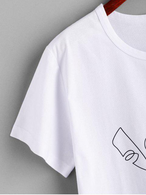 Abstraktes Figur Druck Kurzarm T-Shirt - Weiß L Mobile