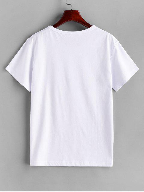 Abstraktes Figur Druck Kurzarm T-Shirt - Weiß XL Mobile