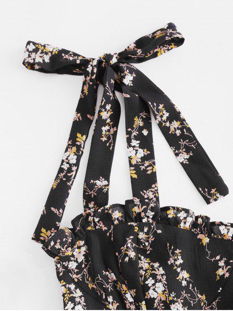 Gebundenes Winziges Blumen Kittel Gurt Kleid - Schwarz S Mobile