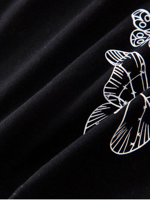 unique ZAFUL Butterfly Pattern Short Sleeve T-shirt - BLACK XL Mobile