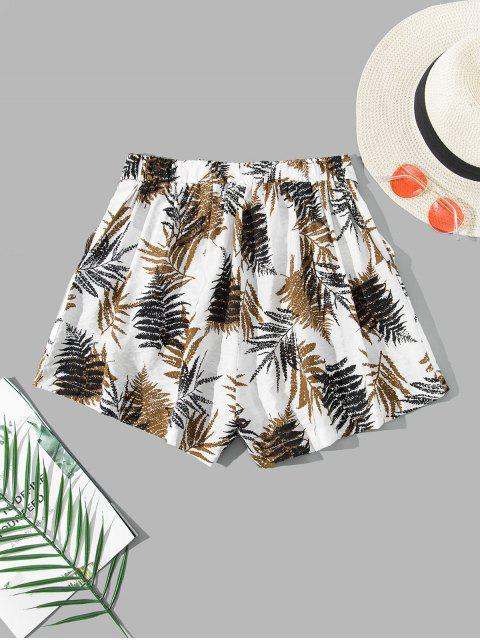 fancy ZAFUL Leaf Print Belted Pocket Wide Leg Shorts - WHITE S Mobile