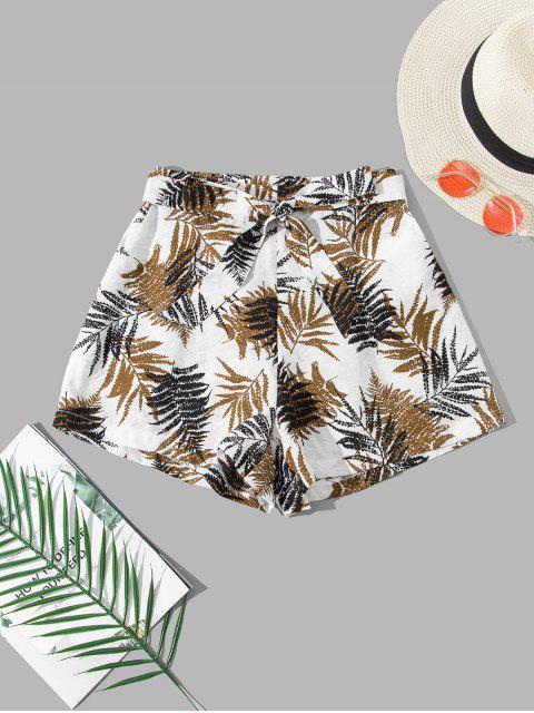 hot ZAFUL Leaf Print Belted Pocket Wide Leg Shorts - WHITE M Mobile