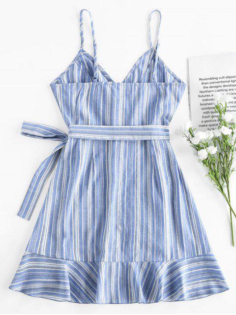 ZAFUL Gestreiftes Minikleid mit Rüschensaum - Pastellblau XL Mobile
