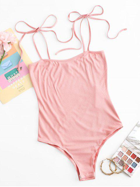 hot ZAFUL Snap Button Ribbed Tie Shoulder Bodysuit - FLAMINGO PINK L Mobile