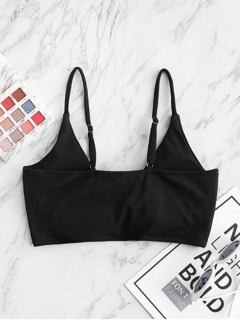 ZAFUL Geripptes Verdrehter Bikini-Top mit Tiefem Ausschnitt - Schwarz S Mobile