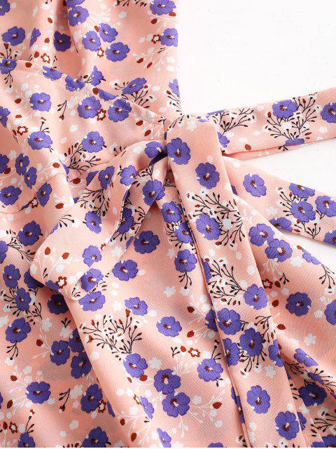 ZAFUL Kreuzes und Queres Wickelkleid mit Blumenmuster - Orange Rosa XL Mobile
