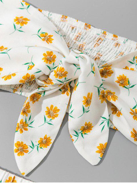 ZAFUL Gerafftes Krawatte Ditsydruck Bandeau Co Ord Set - Weiß S Mobile