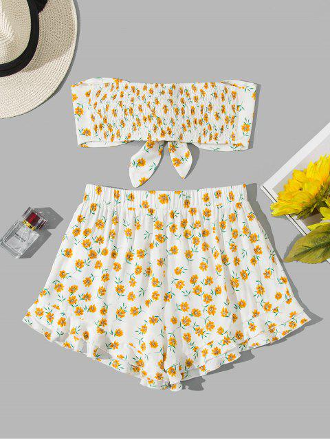 ladies ZAFUL Shirred Tie Front Ditsy Print Bandeau Co Ord Set - WHITE S Mobile