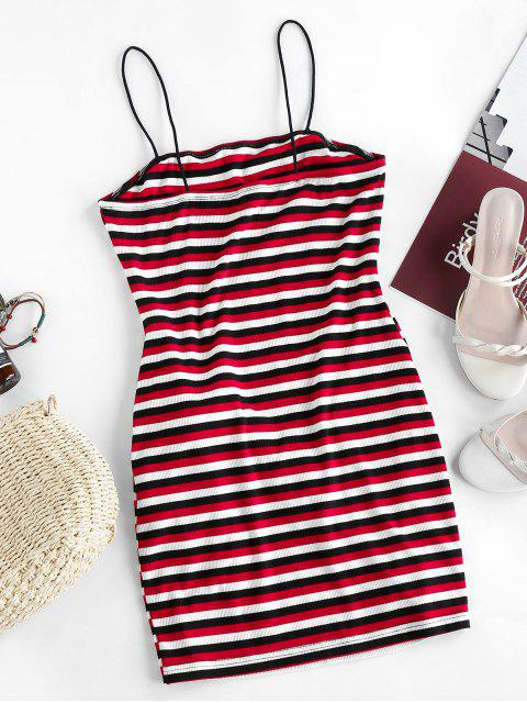 latest ZAFUL Striped Ribbed Belted Bodycon Dress - MULTI-A S Mobile