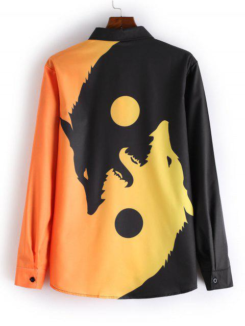 buy Wolf Print Button Long Sleeves Shirt - BEE YELLOW 2XL Mobile