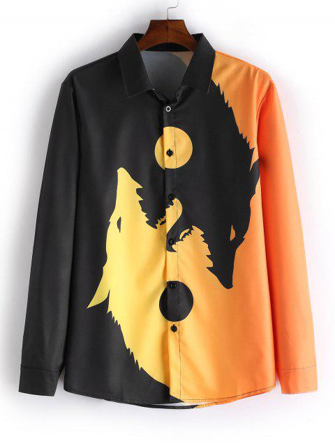 affordable Wolf Print Button Long Sleeves Shirt - BEE YELLOW XL Mobile