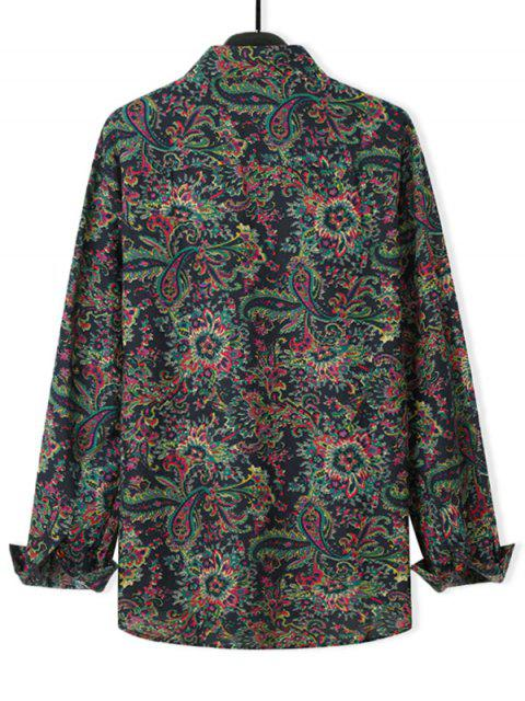 shops Ditsy Floral Long Sleeve Casual Shirt - BLACK M Mobile