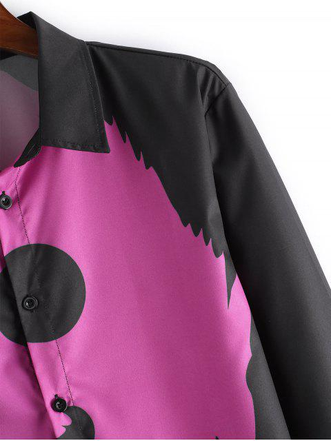 lady Wolf Print Button Long Sleeves Shirt - PLUM 2XL Mobile