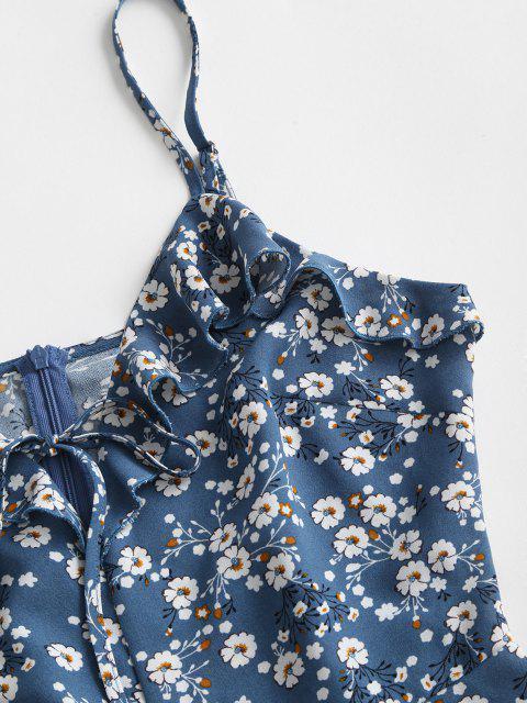 ZAFUL Barboteuse Fleurie Imprimée à Bretelle à Volants - Bleu Bleuet S Mobile
