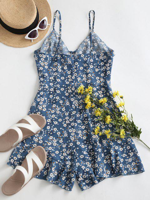 outfits ZAFUL Ditsy Print Ruffle Cami Romper - CORNFLOWER BLUE S Mobile