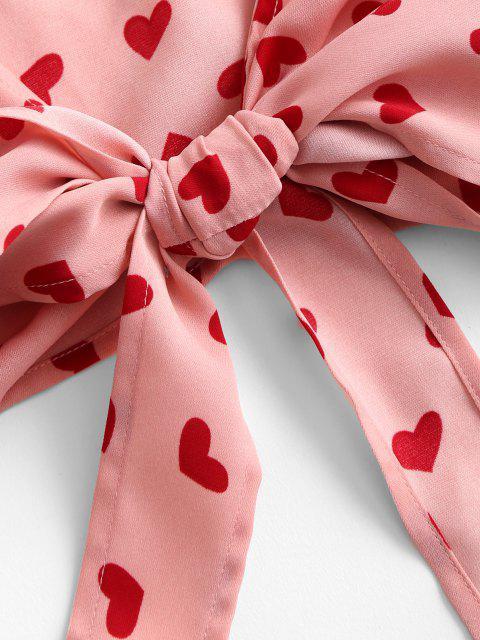 lady ZAFUL Heart Print Ruffle Tie Crop Top - PINK ROSE L Mobile