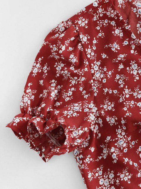 outfits ZAFUL Ruffle Ditsy Floral Wrap Blouse - RED WINE M Mobile