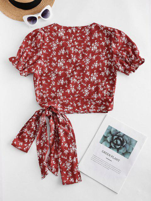 shop ZAFUL Ruffle Ditsy Floral Wrap Blouse - RED WINE XL Mobile