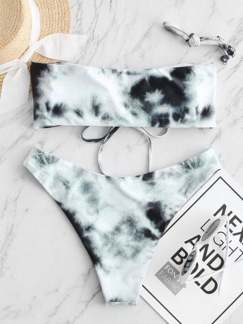 women's ZAFUL Reversible Cinched Tie Dye High Leg Bikini Swimwear - MULTI-A S Mobile