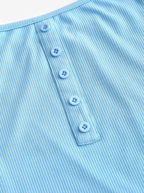 ZAFUL Mock Botão Cortada com Nervuras da Tee - Céu Azul L Mobile