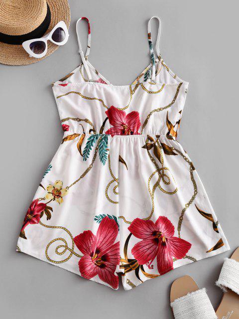 chic ZAFUL Floral Chain Print Surplice Romper - WHITE M Mobile