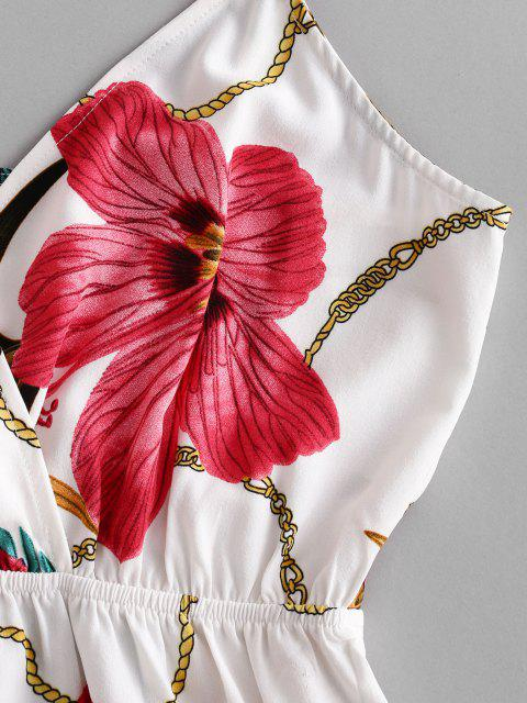 ZAFUL Strampler mit Kette und Blumendruck - Weiß L Mobile